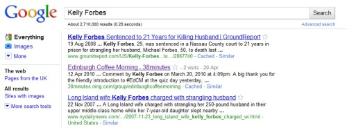 Kelly Forbes...not a murderer honest!