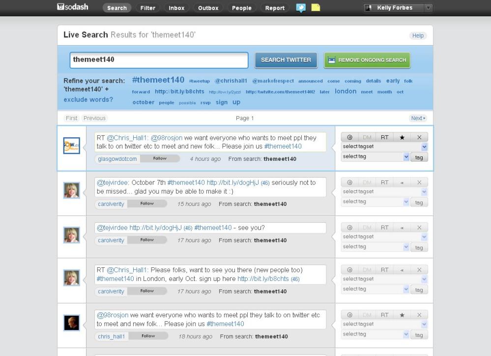 Sodash platform showing searches